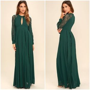 Lulus field of dreams lace long sleeve maxi gown